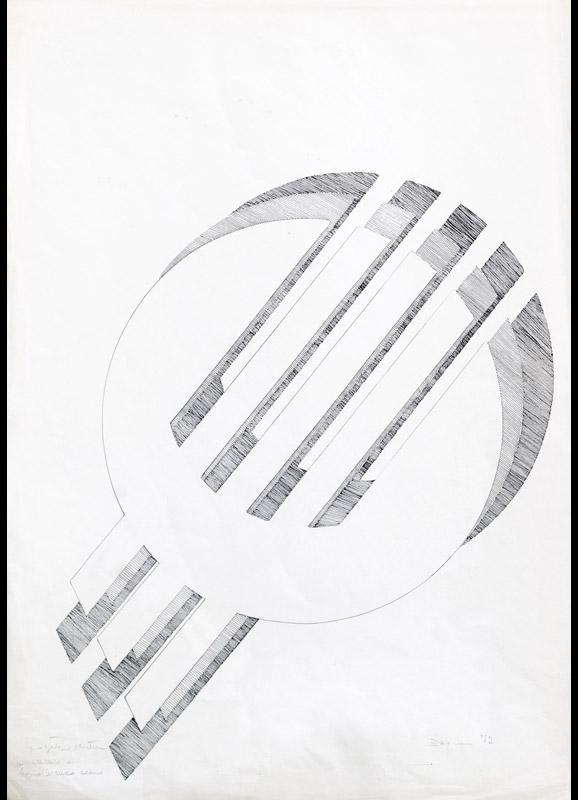 Progetto per scultura, 1972 china su carta, 70x50cm