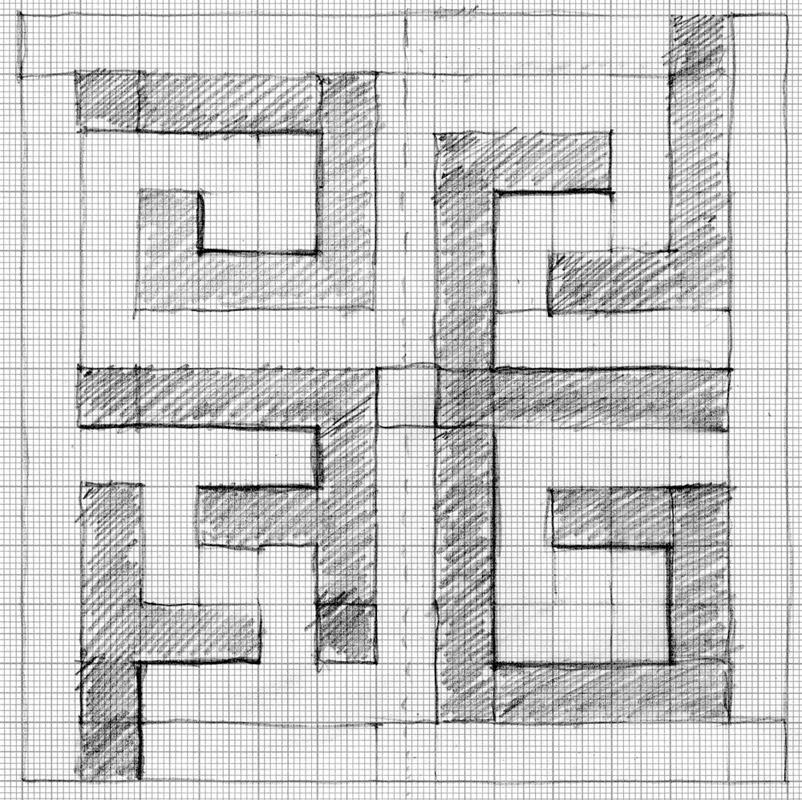 Studio per Mutevole, 1975  matita su carta millimetrata, 19,5x19,5 cm