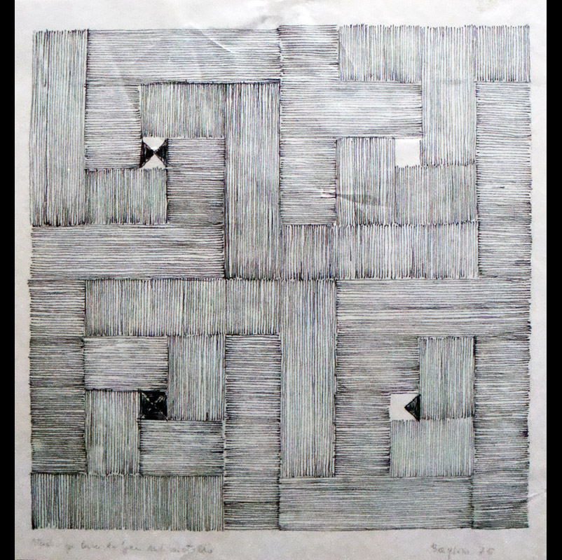 Studio per Mutevole, 1975 china su lucido, 19,5x19,5 cm