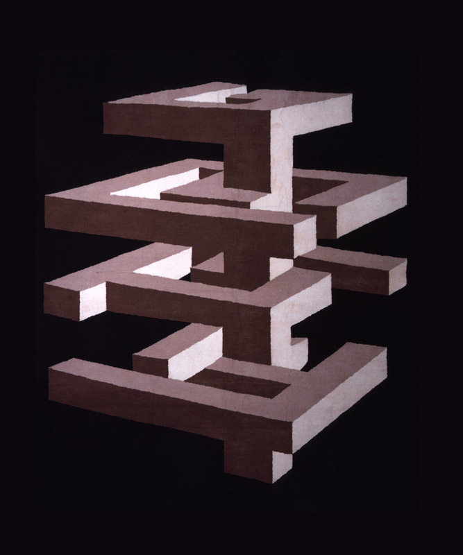 Spirale quadrata, 2008 lana taftata a mano, 302x247 cm