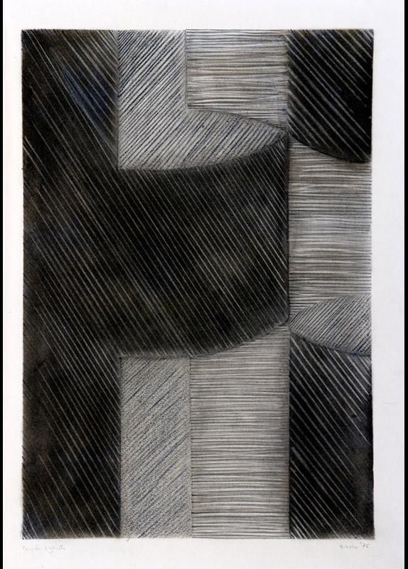 Progetto d'incastro, 1976  gessetto su carta, 70x50 cm
