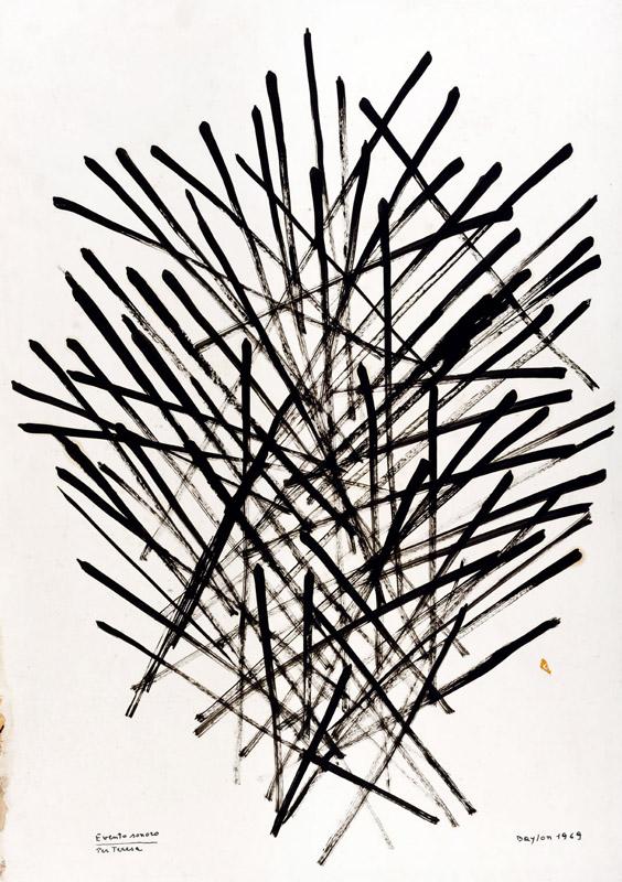 Evento sonoro per Teresa, 1968  tempera su cartone, 96x68 cm
