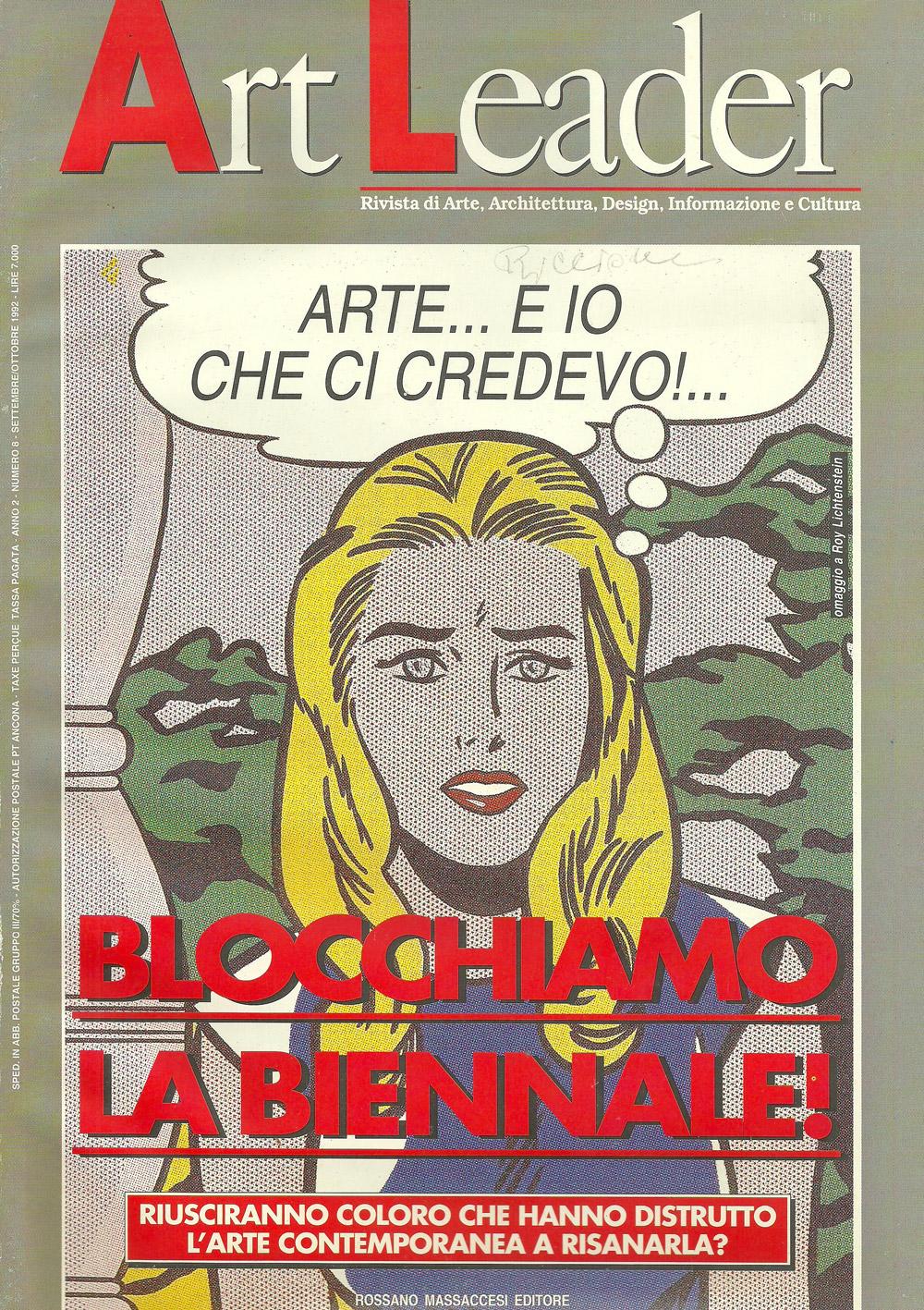 """Art Leader, 1992. Articolo sulla mostra """"La pietra e il mare"""" nel Parco Giardino a Riccione: Diana Baylon presenta un'opera intitolata """"Segno"""""""