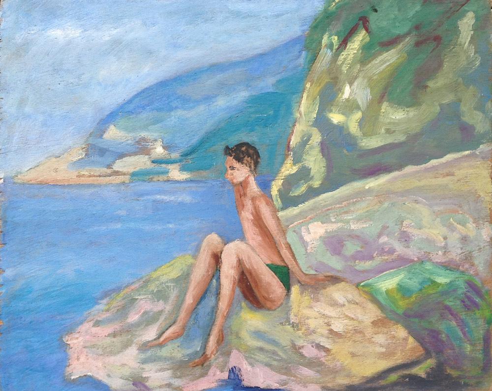 Andrea, 1957  olio su legno, 27,5x34 cm