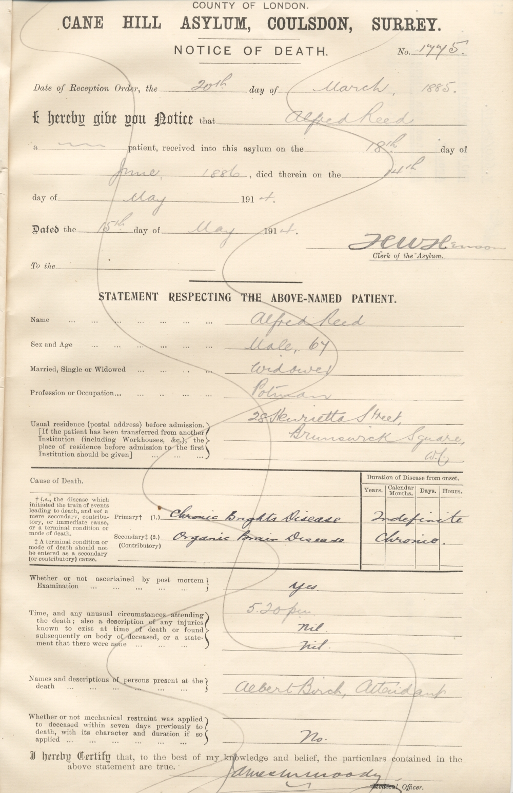 death certificate from 1914, signed by the first medical superintendent - james moody