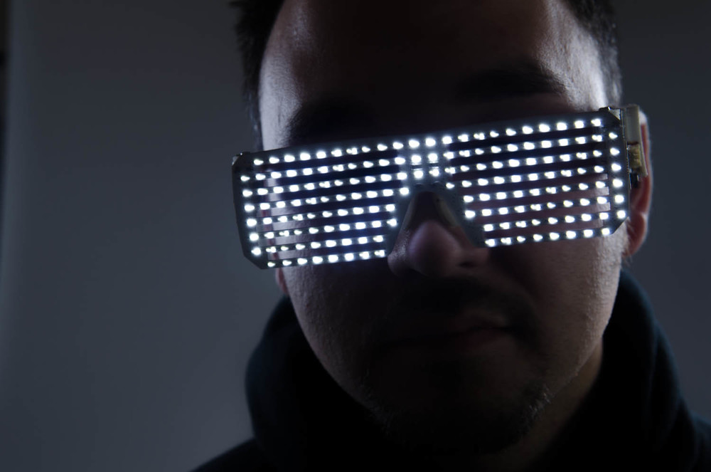 Raw out of camera shot of Dj Elements LED Glasses