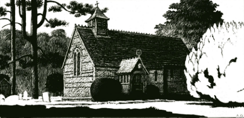 St Mary's Church, Hawridge engraving by Anthony Griffin