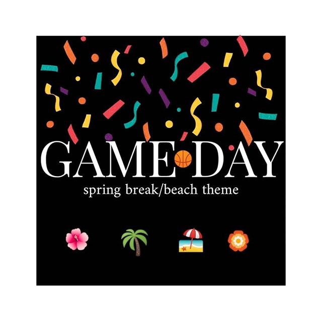 Join us for the men's basketball game at 7 in Ariel! Wear your best spring break / beach attire. We'll see you there! ✨