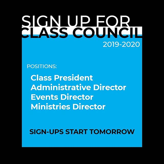 Want to have more influence on campus and help plan events for the student body? Get involved on a class council! These positions are just as important as any other SGA position. Sign-ups start tomorrow!