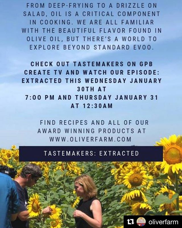 Tonight!!!!!!! #Repost @oliverfarm with @get_repost ・・・ Catch this tonight on GPB Create TV!  #oliverfarmartisanoils #okraseedoil #greenpeanutoil #pecanoil #sunfloweroil #pecanflour #craftfood #coldpressed #georgiagrown #artisan #craftfood #goodfoodawards #madeinthesouth #georgia #southgeorgia #georgiafarm
