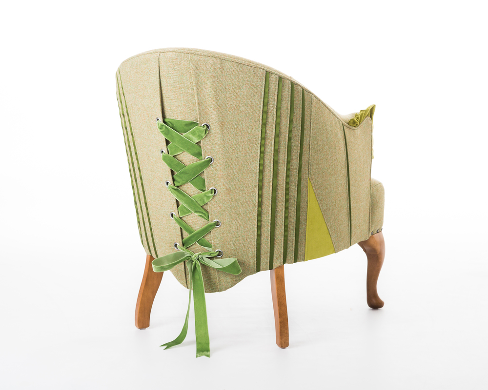 leaf green corset chair