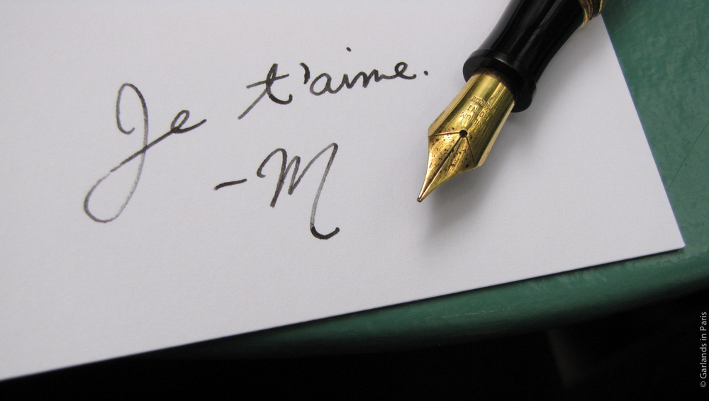 Je t'aime fountain pen love letter
