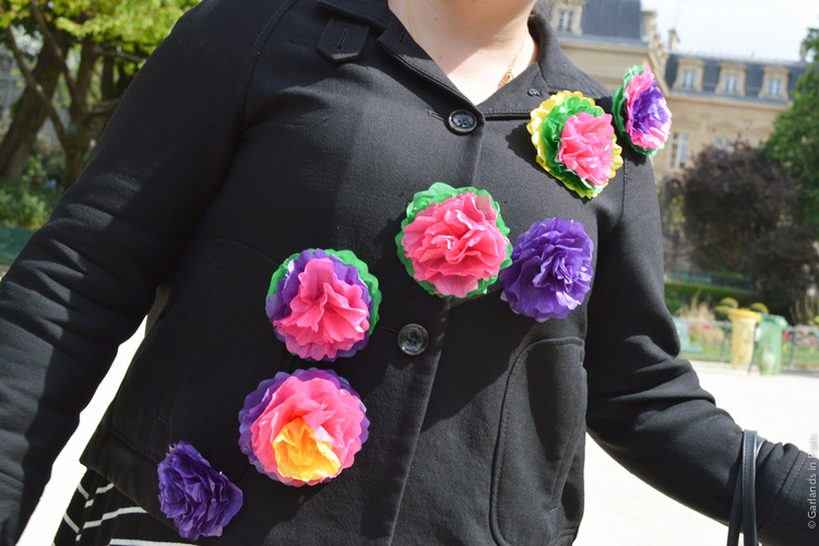 Easter tissue paper flower pins