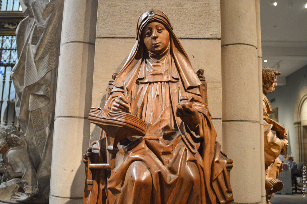 Saint Bridget of Sweden , Master of Soeterbeeck, South Netherlandish, ca. 1470, walnut with rock crystal cabochon