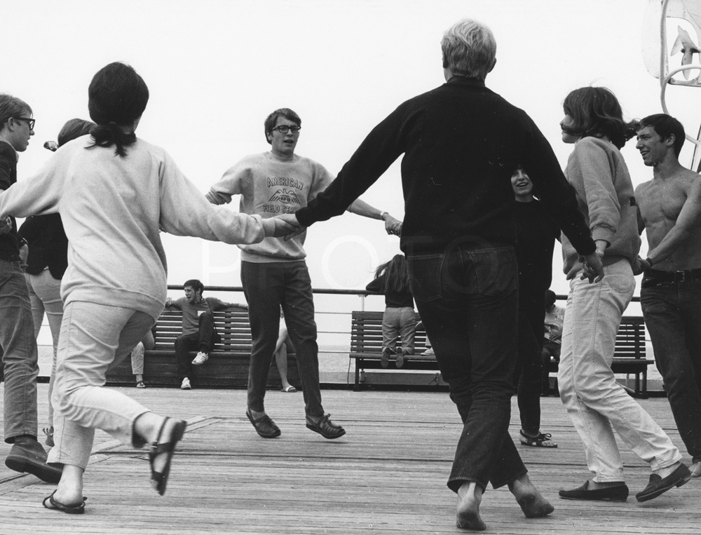 "Swiss group of AFS students folk dancing on the deck of the ""Waterman"", 1968"