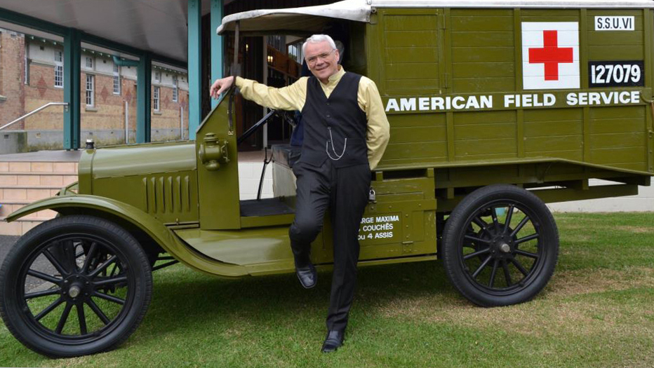 Vincenzo with a replica of the Ford T AFS ambulance in Auckland New Zealand, May, 2012.