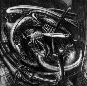 H.R. Giger painting from  H.R. Giger's Facebook page.