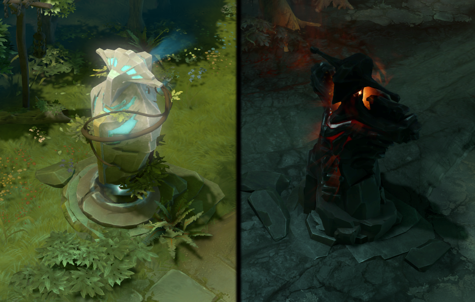Screenshots of DOTA 2's towers, usually considered a checkpoint of sorts for each lane.