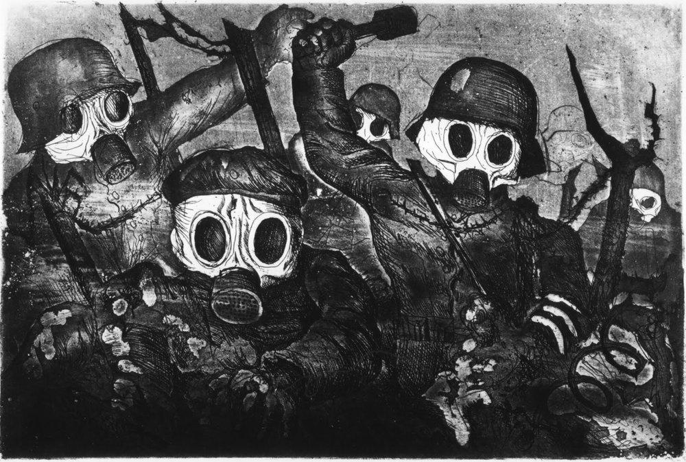 Stormtroopers Advancing Under Gas, part of Der Krieg