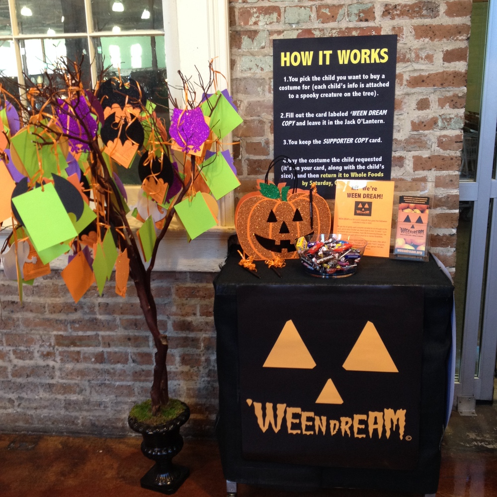 The 'WEEN DREAM Pumpkin Patch is set up at the back entrance next to the Whole Foods Market's real pumpkin patch!