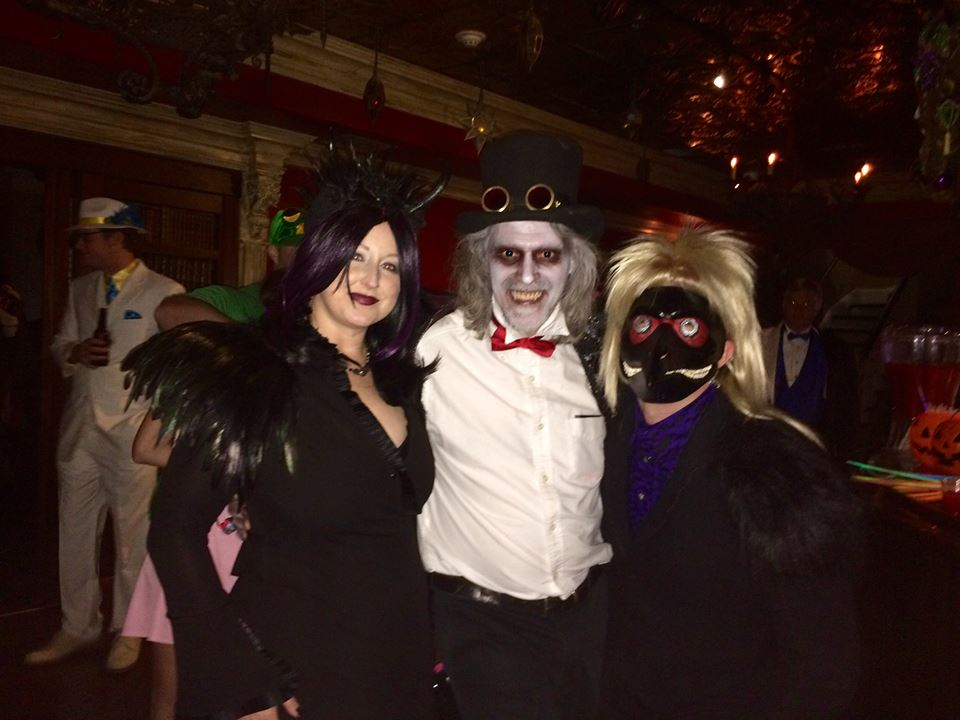 Soiree Spooktacular guests and the haunted basement tour leader.jpg