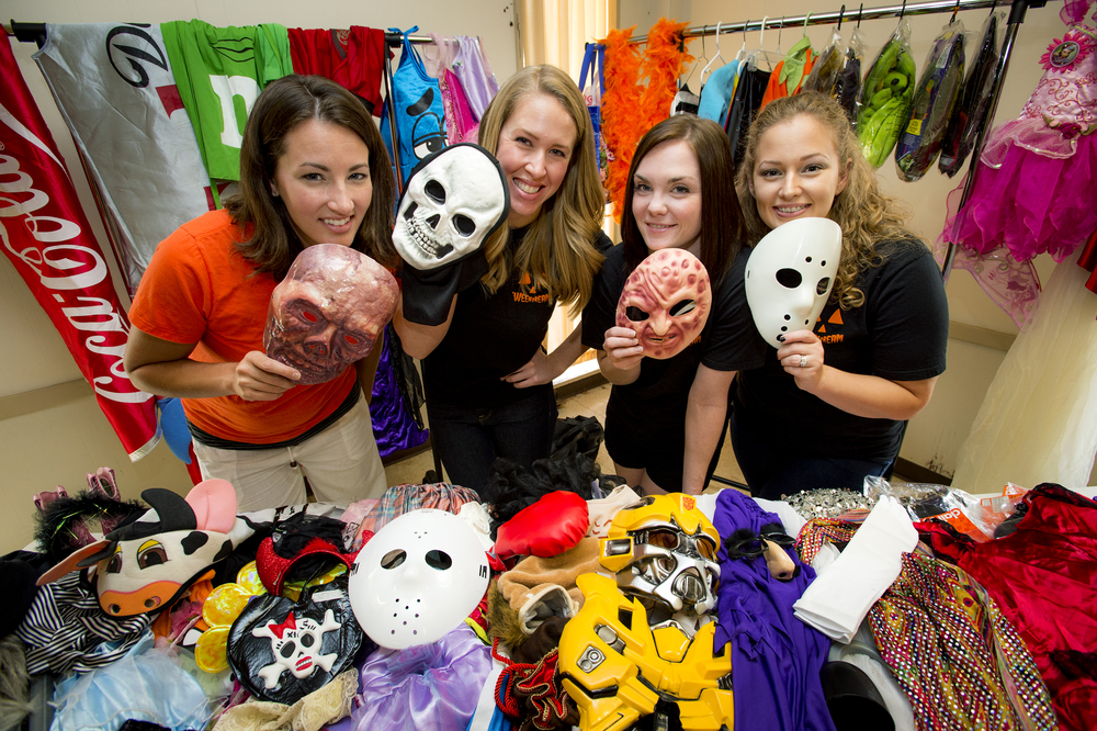 Volunteers Valerie, Kelsey (Founder), Alli (Co-Founder), and Tara at the 'WEEN DREAM costume headquarters