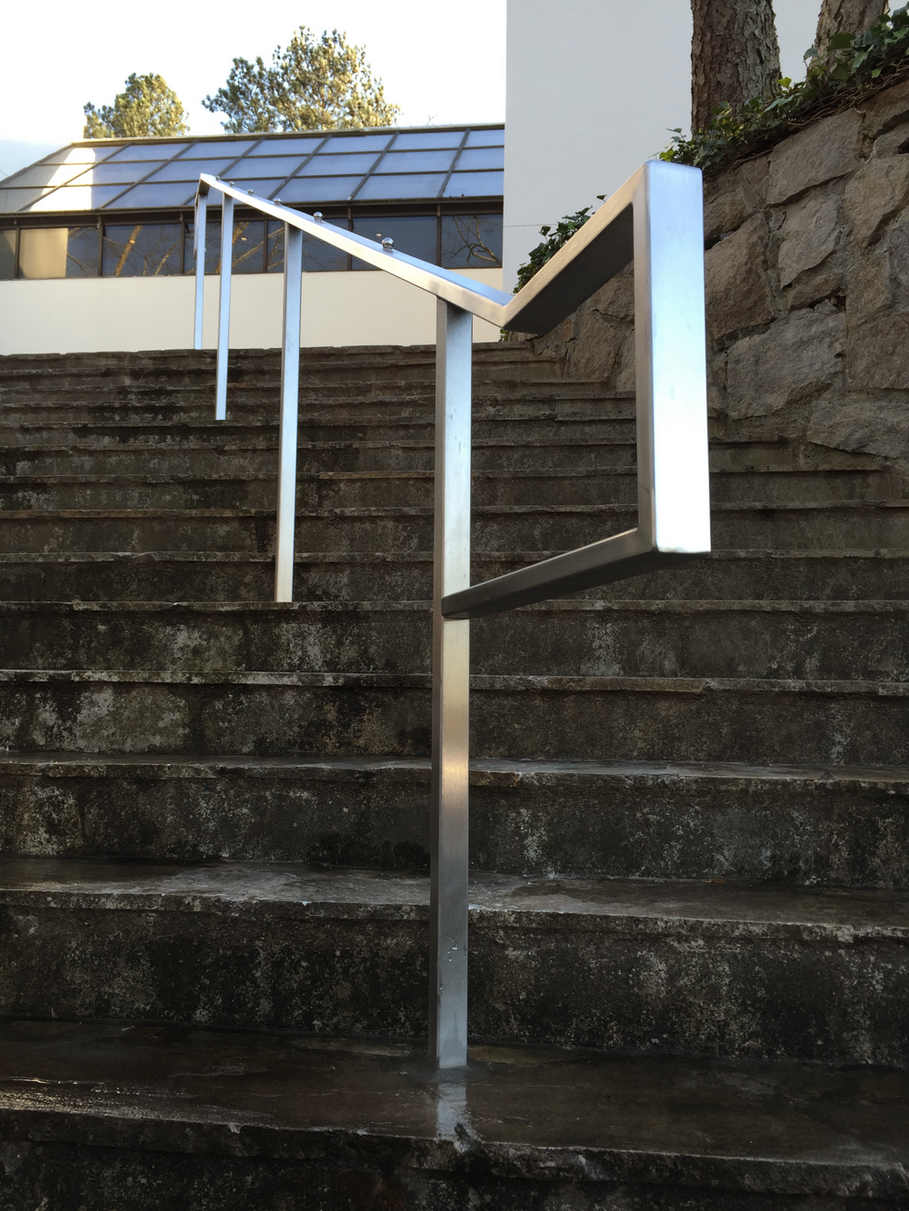 Stainless Hand Rail with Skateboarding Deterrents