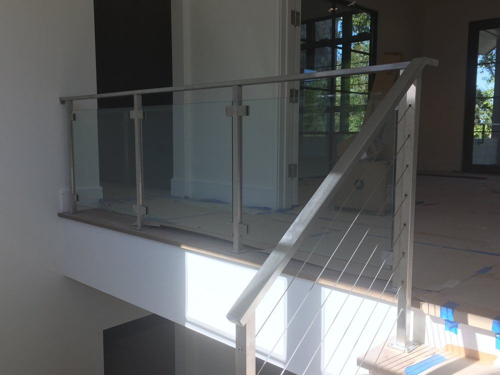"""Hancock"" Stainless Steel Glass Panel + ""Hudson"" Cable Railing"