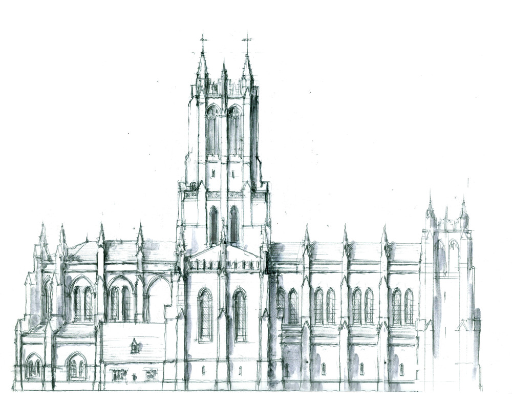 Progress Sketch - Side Elevation of Church August 8.jpg