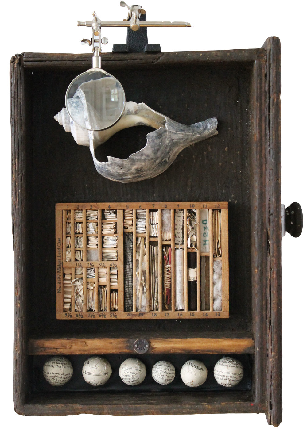 Charleston Box #30 Wood, paper, metal, fiber, shell, paper and found objects Robin Howard - 2017