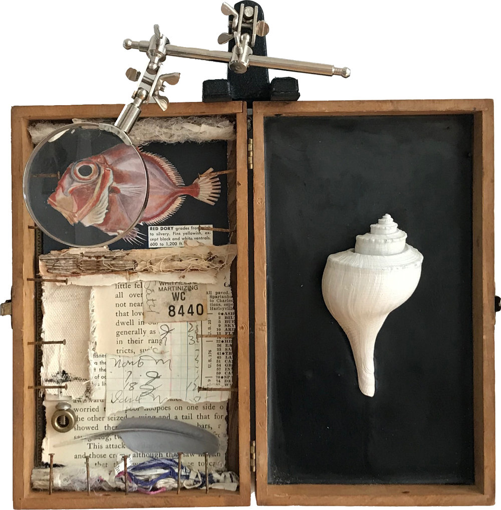 Nine Days Wonder  Wood, encaustic, paper, metal, fiber, shell, found objects Robin Howard - 2017