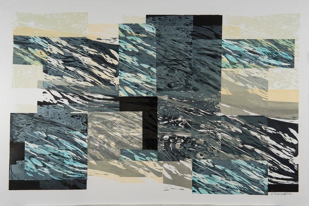 """""""Le Printemps vient au fleuve d'hiver"""" """"Spring comes to the Winter River"""" Gravure sur bois, collage,   80 cm x 120 cm ( 32"""" x 48"""")  E/U  épreuve unique,  U/P, corp.collection"""