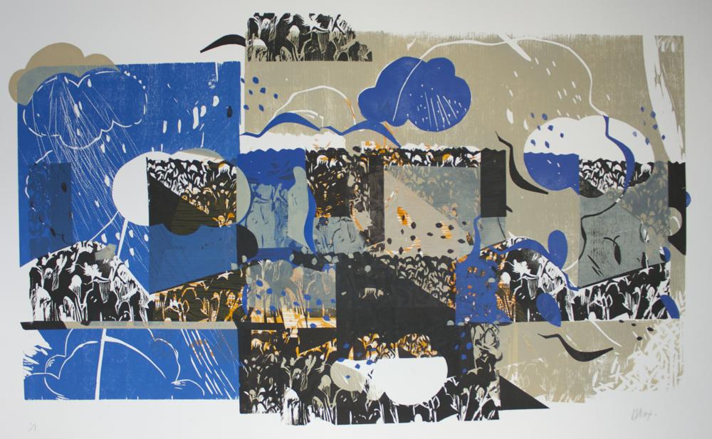 """""""Écoute-moi""""   """"Hear me""""   gravure sur bois, woodcut   E/U   unique print   76 cm x 106 cm  (30"""" x 42"""")   coll.privée"""