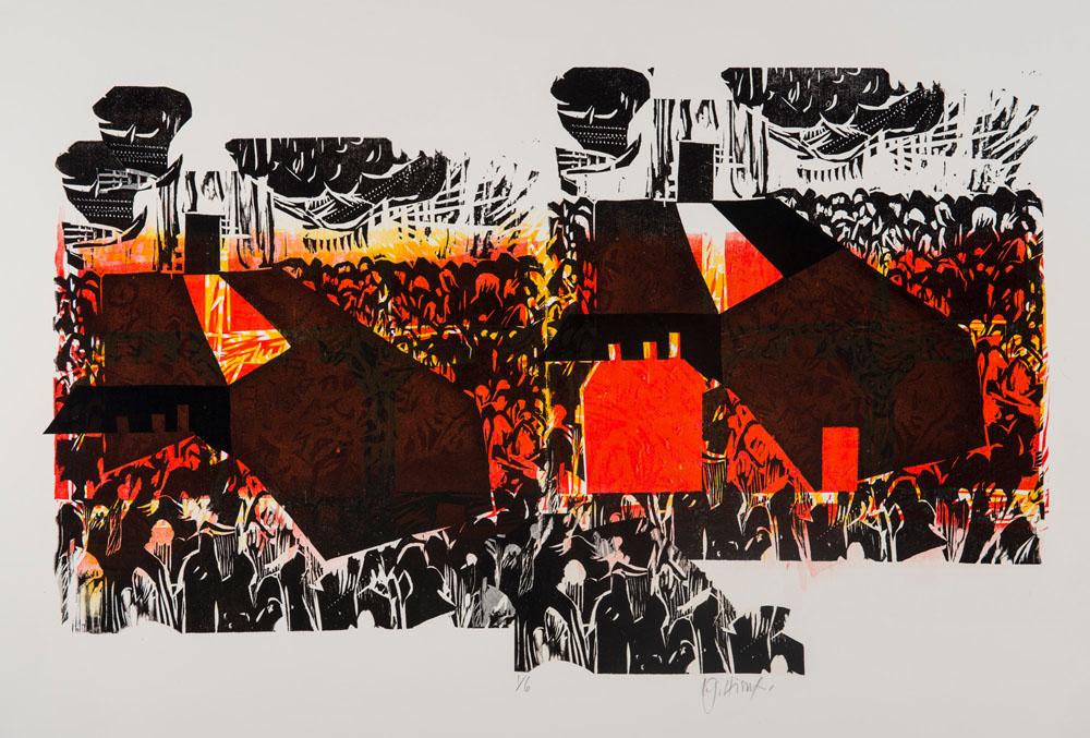 """Les Nouvelles / Evening News gravure sur bois, chin collé, 1/6 56 cm x 76 cm (22"""" x 30"""")"""