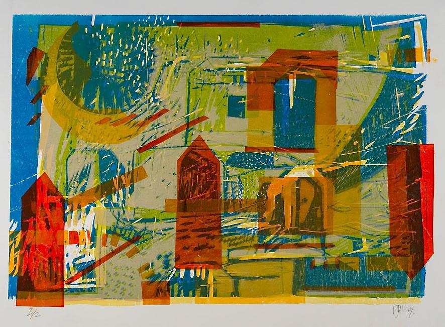 """""""Aprés-Mid""""i"""" Summer Afternoon"""" gravure sur bois  2/2 epreuve unique    56 cm x 76 cm  (22"""" x 30"""") coll.privée"""