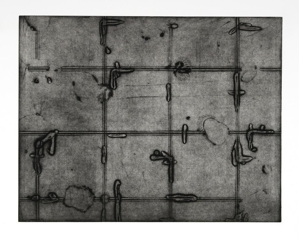 Détourner 2 fois1ère, collagraphie sur papier Somerset, 2007, 51cm x 77cm