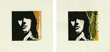 Du Soleil dans tes cheveux (2 variantes) : linogravure sur chine collé préparé à l'encre, 21 x 21 cm, sur papier Arches, 2011