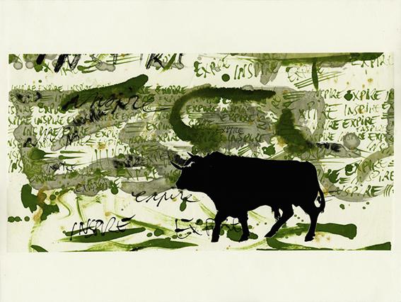 Mouvement respiratoire primaire I : linogravure sur chine collé préparé à l'encre, 65 x 50 cm, sur papier Arches, 2012