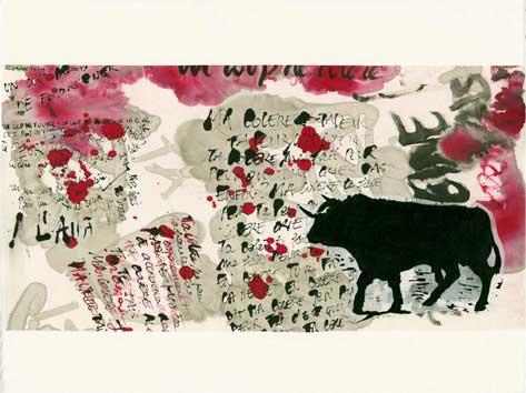 TORO III - Le corps parle : linogravure sur chine collé préparé à l'encre, 47 x 47 cm, sur papier Arches, 2012