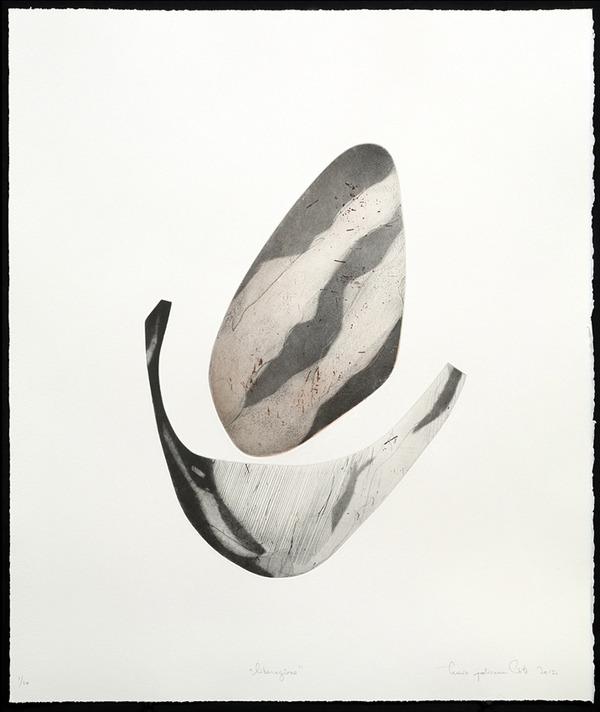 """SECOND PRIZE: Lucie Jolicoeur Côté, """"Liberazione"""", copper plate etching, 2012."""