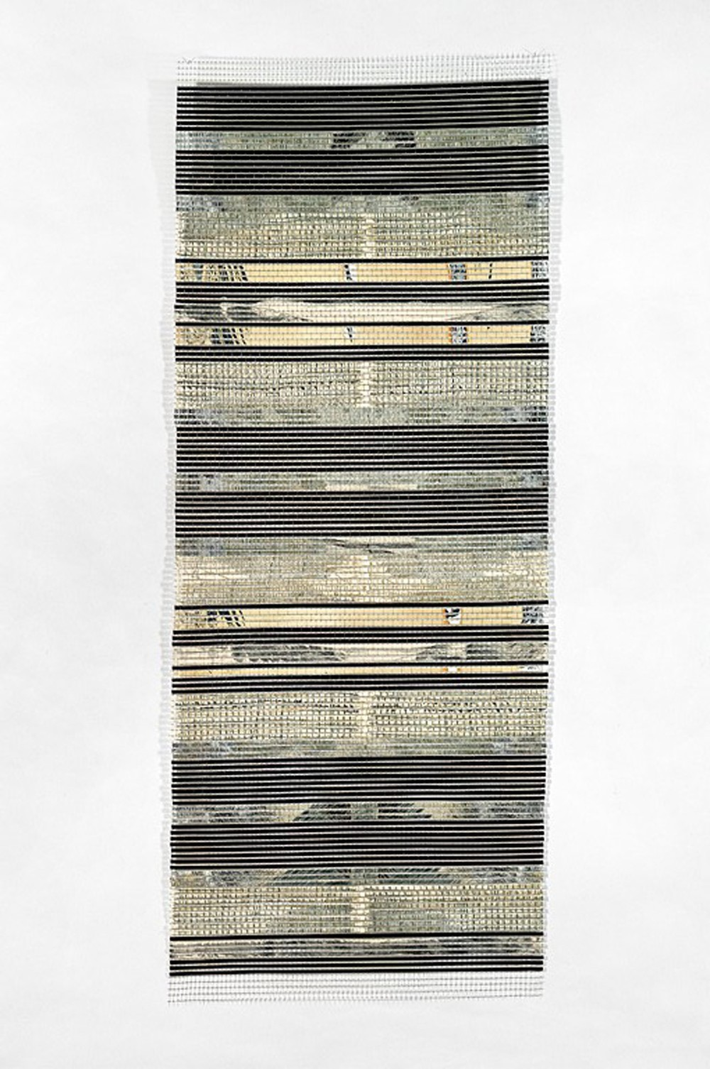 Crète LIII  (2012)    grillage, eau-forte & collagraphie    130 x 59 cm.