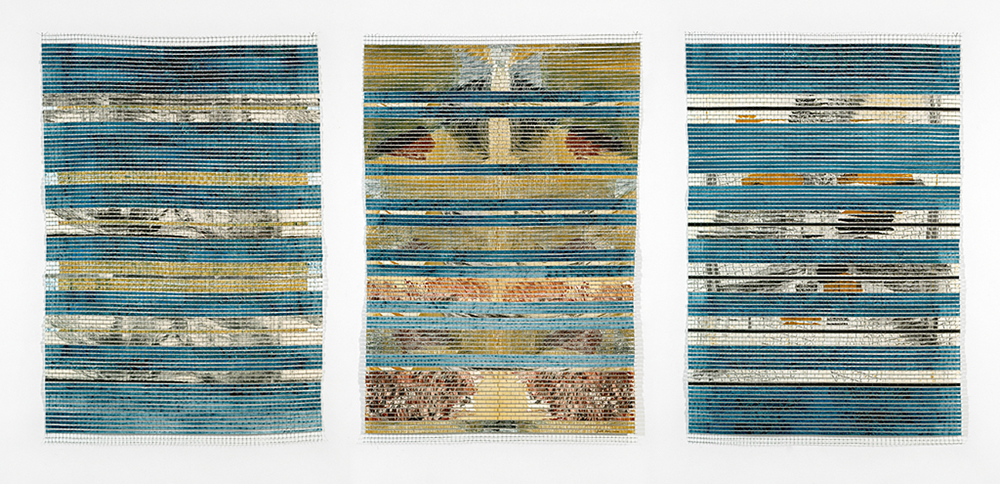 Crète L-LI-LII  (2011)    grillage, eau-forte & collagraphie    3x( 89 x 60 cm.)