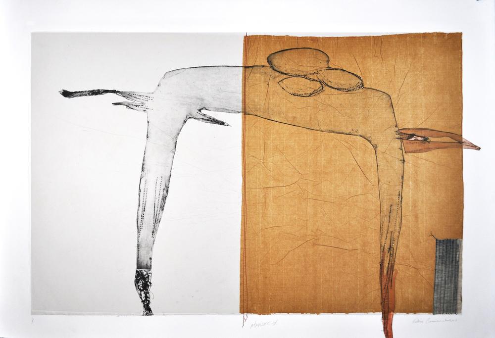 Atavisme IV, 2013, Collagraphie, chine collé, fil, 1/1, 30 x 44 Somerset