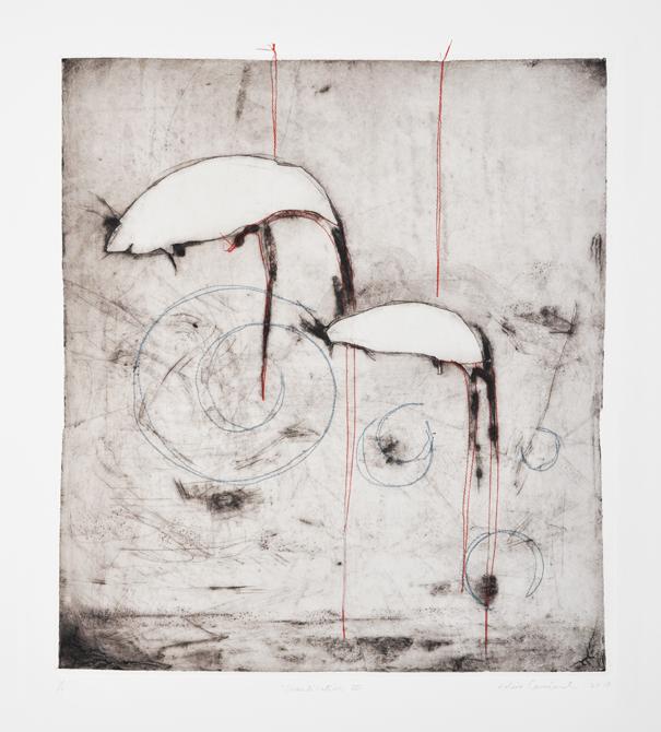 Domestication, 2012, Collagraphie, chine collé, fil V1 3/5, 17 X 18,5, Arche