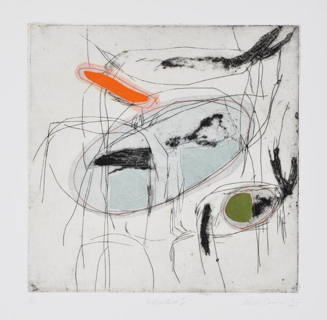 Extinction I, 2014, Collagraphie, chine collé, fil1/1, 18 x 18, Arche