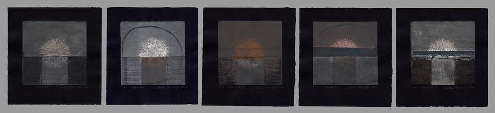 Flashs et Flashs #5 (détail), 2012, Monotypes Impressions multi plaques, pointe sèche, aquatinte, manière au crayon, vernis mou et chine collé 5 gravures de 18 cm x 19 cm chacune