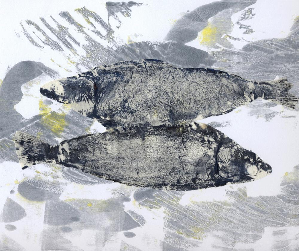 Talleen Hacikyan, Silver Sea, monotype à la gélatine & collage, 28 x 38 cm, 2016.