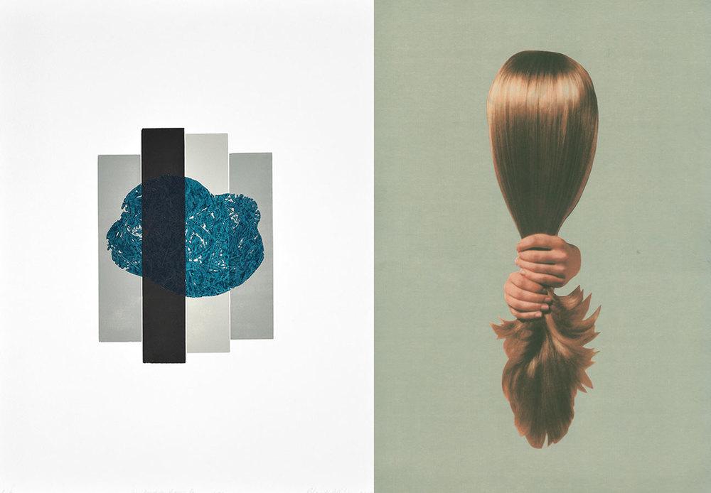 Gauche: Rolande Pelletier,La tête dans le nuage, bois imprimé, 2015. Droite: Mathieu Matthew Conway, Sans titre II, série Empreintes digitales, estampe numérique et chine collé, 2012.