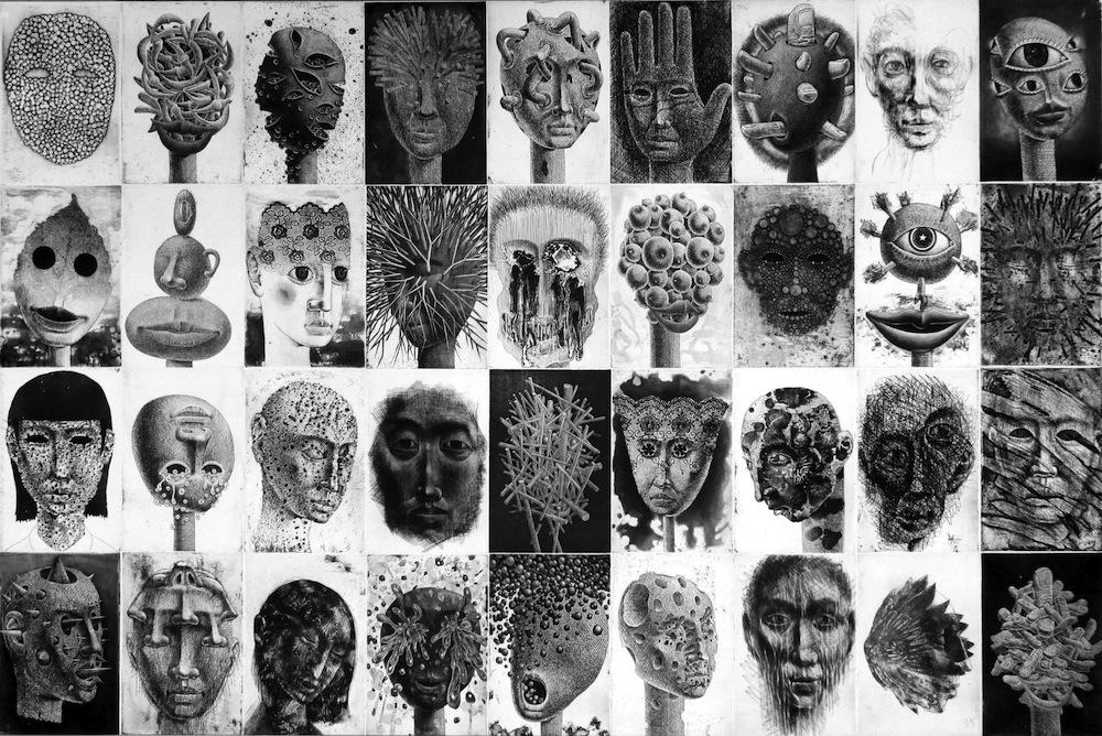 "Tomiyuki Sakuta, 36 oeuvres de la série ""Visages"""