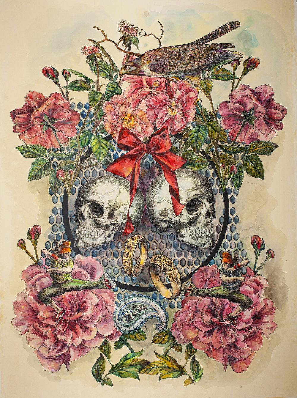 "Cynthia Dinan-Mitchell, ""Botanical Bend"", screen print, 2016."
